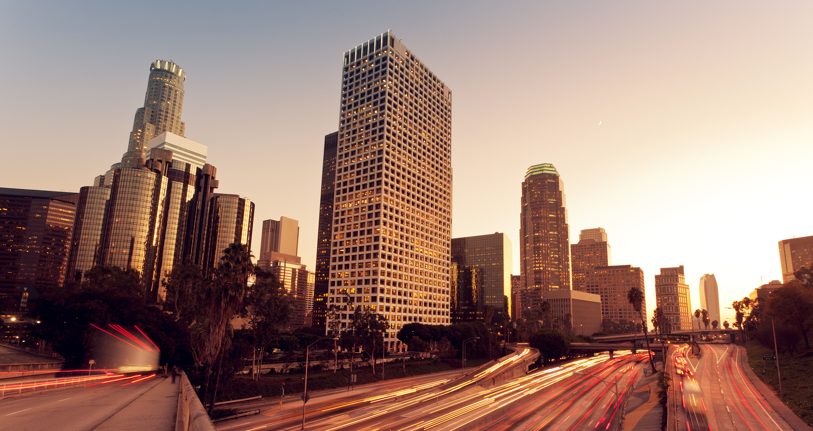 Los Angeles, Urban City at Sunset with Freeway Trafic